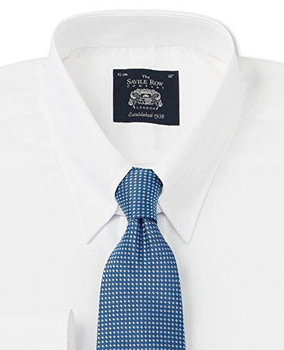 Savile Row Men's White Poplin Tab Collar Classic Fit Dress Shirt Neck Size 17.5 Single Cuff видеоигра бука saints row iv re elected