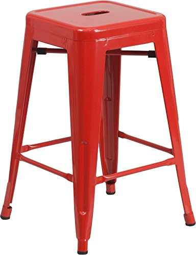 Counter Height Stool, 24 Inch, Red Carts Islands Kitchen Dining Carts
