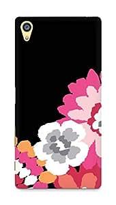 Amez designer printed 3d premium high quality back case cover forSony Xperia Z5 Premium (black pink floral)