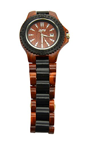 Ideashop� High Quality Handmade Brown And Black Natural Sandalwood Wood Watches Date Calendar Sandal Wood Quartz Watch Wooden Wristwatch Japan Movt Men's Watches Gift Giving Watch
