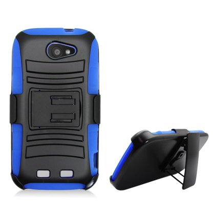 Cell Accessories For Less (Tm) For Zte Warp Sync N9515 Black Armor W/Stand, Blue& Black Belt Clip + Bundle (Stylus & Micro Cleaning Cloth) - By Thetargetbuys