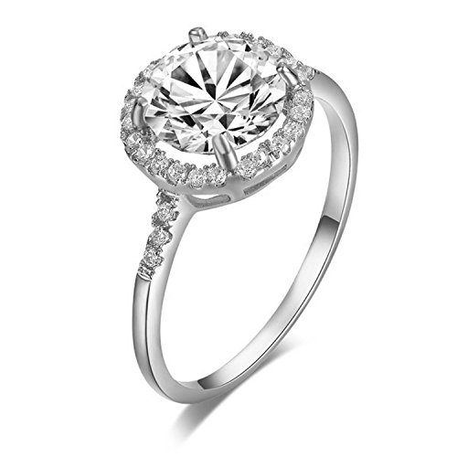 Yoursfs 18K Gold Plated 2 Carat Solitaire Round Cubic Zirconia Engagement Ring (6, White-Gold-Plated-Silver)