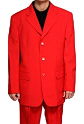 New Men's 3 Button Single Breasted Red Dress Suit
