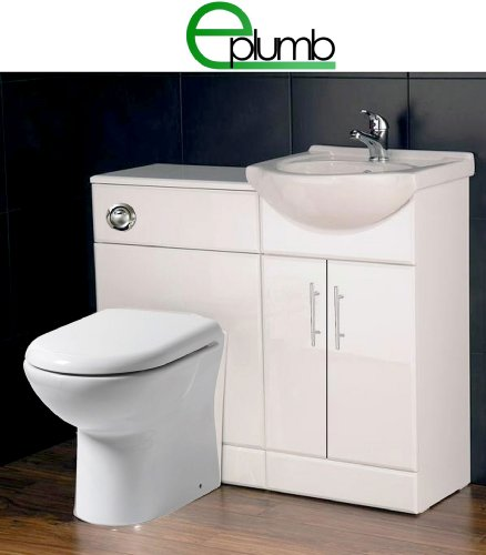 White 450 Bathroom Vanity Combination Unit Cloakroom Suite 600 Back To Wall Toilet, Pan, Soft Close Seat, Tap