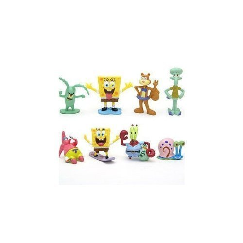 SpongeBob SquarePants 8 Piece Play Set with 8 SpongeBob Figures Featuring Squidward, Sandy Cheeks, Patrick Star, Mr. Krabs, Plan Multicoloured, 1pac - 1
