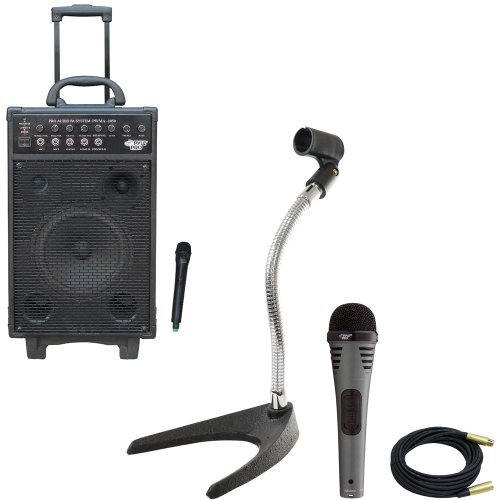Pyle Speaker, Mic, Cable And Stand Package - Pwma1050 800 Watt Vhf Wireless Battery Powered Pa System W/Echo/Ipod/Mp3 Input Jack - Pdmik2 Professional Moving Coil Dynamic Handheld Microphone - Pmks8 U-Base Gooseneck Desktop Microphone Stand - Ppmcl30 30Ft