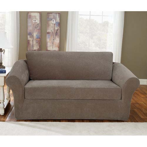 Sofa Slipcovers On Amazon: Sure Fit Pique 3-Piece Stretch Sofa Slipcover Taupe Check