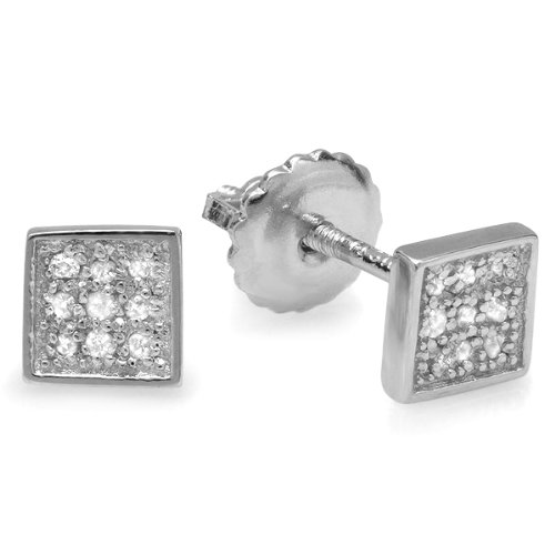 0.10 Carat (ctw) Platinum Plated Sterling Silver Round Diamond 5mm Square Shape Mens Hip Hop Iced Stud Earrings
