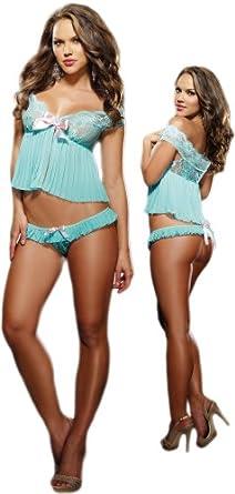 Beautiful Blue Chiffon Lace Cami Lingerie Set - Extra Large