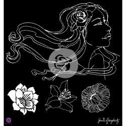 Bulk Buy: Prima Marketing (2-Pack) Prima Bloom Stencil 12\'X12\' Gardenia BLOOMSTN-80252
