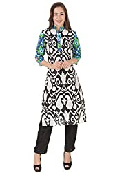 Noor Women's Multicolor Ikat Print Cotton Kurta (NW_26L_LARGE_Multicolour)