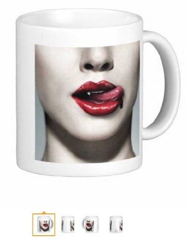 Pair Of Vampire Lips 15 Ounce Coffee Mugs - Custom Coffee / Tea Cups - Dishwasher And Microwave Safe