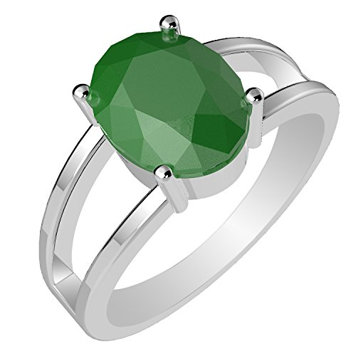 2.15 cts Genuine Emerald Oval & Solid.925 Sterling Silver Rings (Size-7) (Genuine Emerald Ring compare prices)