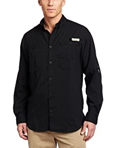Columbia Men's Tamiami II Long Sleeve Shirt Woven Tops, Black, Large