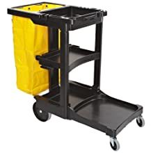 "Rubbermaid Commercial Housekeeping Cart with Zippered Yellow Vinyl Bag, 3 Shelves, Black, 38-3/8"" Height, 46"" Length x 21-3/4"" Width"