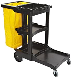 Rubbermaid Commercial Housekeeping 3-Shelf Cart with Zippered Yellow Vinyl Bag, Black (FG617388BLA)