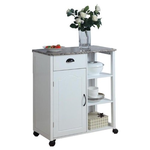 White Kitchen Island Storage Cart on Wheels with Granite Look Top- Portable, Great for a Small Kitchen! Portable Storage Cabinet