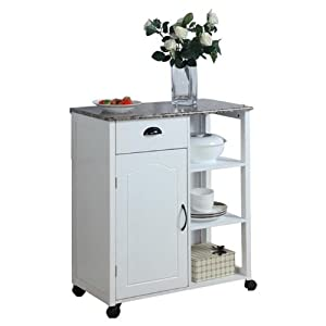 Amazon White Kitchen Island Storage Cart on Wheels
