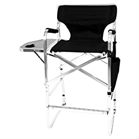 Earth Products Earth Deluxe Tall Directors Chair With Side Table And Cup  Holder (Black): Sports U0026 Outdoors