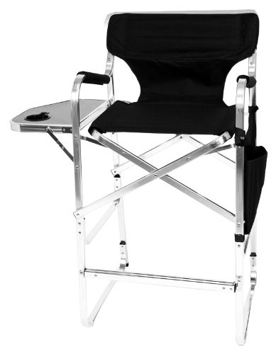 Awesome Earth Products Earth Deluxe Tall Directors Chair With Side Table And Cup  Holder (Black) Review