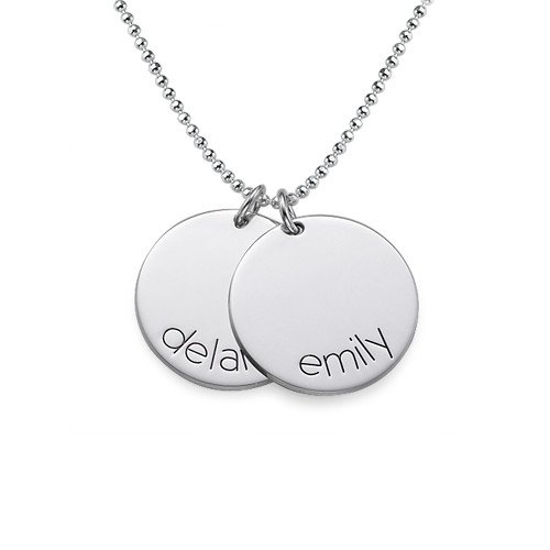 Sterling Silver Personalized Disc Name Necklace