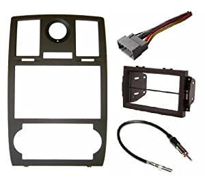 Chrysler 300 2005 2006 2007 Radio Stereo Car Install Double Din Navigation Black Bezel,Harness and Antenna Adapter