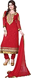 Cool women's Georgette Embroderied Unstitched Dress Material -1020_Red_Freesize