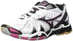 Mizuno Women\'s Wave Tornado 9 WOMS WH-PK Volleyball Shoe, White/Pink, 8.5 D US