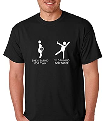 Raw T-Shirt's She's Eating For Two I Am Drinking For 3 Funny Premium Men's T-Shirt