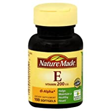 Nature Made Vitamin E, 200 IU, Softgels, 100 ct.