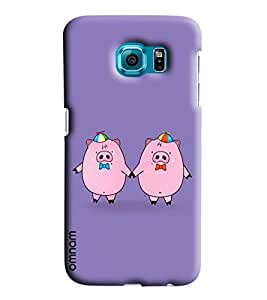 Omnam Two Pigs Enjoying Printed Designer Back Cover Case For Sumsang Galaxy S7 EDGE