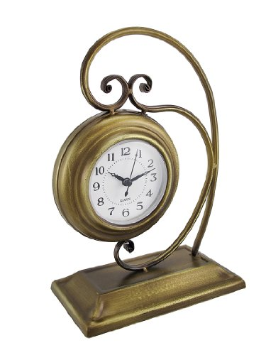 Antique Brass Finish Metal Desk or Table Clock 10 In.