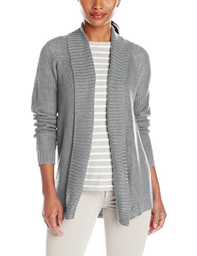 Jason Maxwell Women's Turnback Collar Hi-Lo Cardigan Sweater, Heather Grey, Small