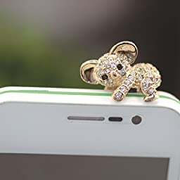 Buyinhouse 3.5mm Bling Cellphone Charms Anti Dust Plug Ear Jack Cap for iPhone 4 4S 5 5 S 6 Samsung Galaxy S2 S3 Note I9220 HTC Sony Nokia - Rhinestone Golden Koala Style