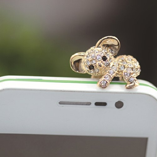 Buyinhouse 3.5Mm Bling Crystal Cellphone Charms Anti Dust Plug Ear Jack Cap For Iphone 4 4S Samsung Galaxy S2 S3 Note I9220 Htc Sony Nokia - Rhinestone Golden Koala Style