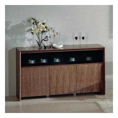 Cheap Stark Buffet with Double Hinged Glass Door in Walnut Veneer (Stark Buffet)