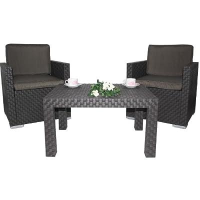 3tlg. Garten Sitzgruppe in Poly Rattanoptik braun-anthrazit von Dynamic24 - Gartenmöbel von Du und Dein Garten