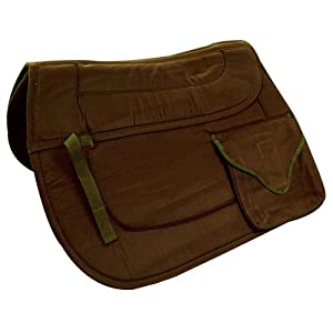 Intrepid International Cushioned Trail Saddle Pad with All Purpose Pocket, Brown