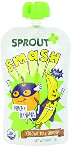 Sprout Kids Coconut Milk Smoothie Smash, Peach and Banana, Net Wt 12.0 oz.