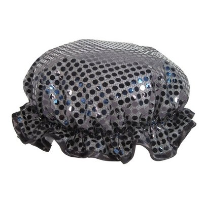 Black Sparkling Sequin Shower Cap