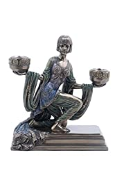 9.25 Inch Bronze Color Egyptian Lady Holding Bowl Candle Holder