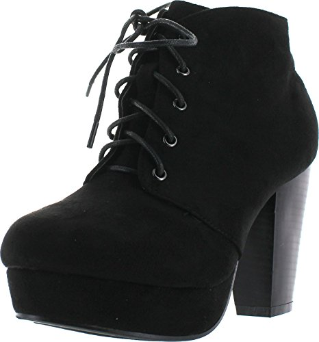 Forever Camille-86 Women's Comfort Stacked Chunky Heel Lace Up Ankle Booties,Black,8