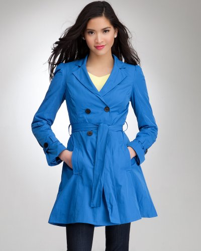 Bebe Taffeta Trench Coat Nautical Blue Size Medium