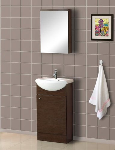 DreamLine DLVRB-102-WG 18-Inch Floor Standing Modern Bathroom Vanity with Counter and Medicine Cabinet