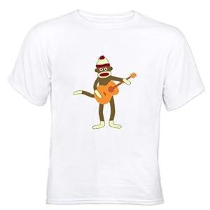 CafePress Sock Monkey Acoustic Guitar Player White T-Shirt White T-Shi