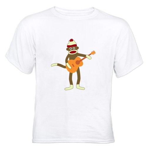 CafePress Sock Monkey Acoustic Guitar Player White T-Shirt White T-Shi