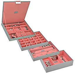 Stackers | Jewelry Box | \'CLASSIC SIZE\' dove gray & coral stacker set of 4 STACKERS
