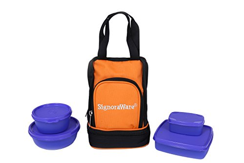 Signoraware Carry Lunch Box with Bag, Violet
