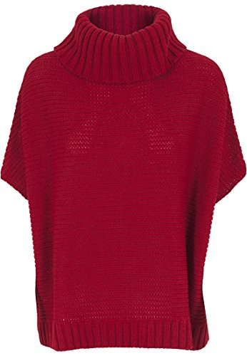 Urban Classics - Poncho Knitted, Poncho Donna, Rosso (Red), X-Large (Taglia Produttore: X-Large)
