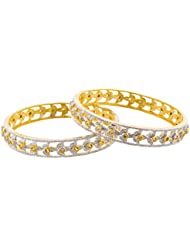 Arnav Creations Silver And Gold Metal Bangle Set For Women - Set Of 2 (Size: 2.6, ACB0028)